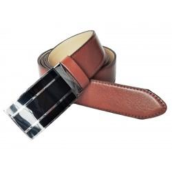 Pánský luxusní kožený společenský opasek s plnou sponou Belts 35-020-A6 hnědý