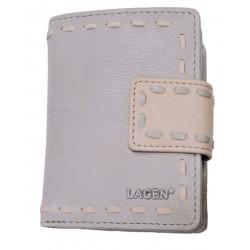 Dámská kožená luxusní peněženka Lagen 2094 grey/pink