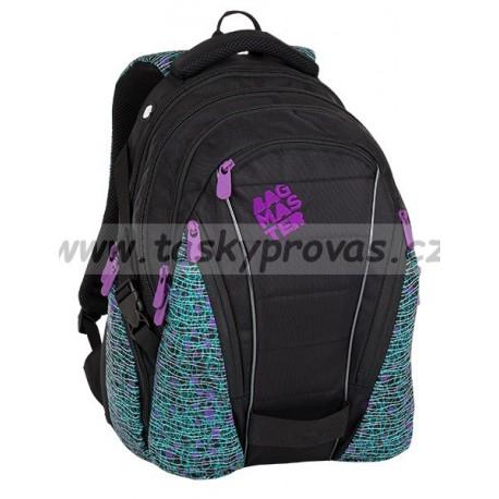 Studentský batoh Bagmaster BAG 8 C BLACK/WHITE/VIOLET