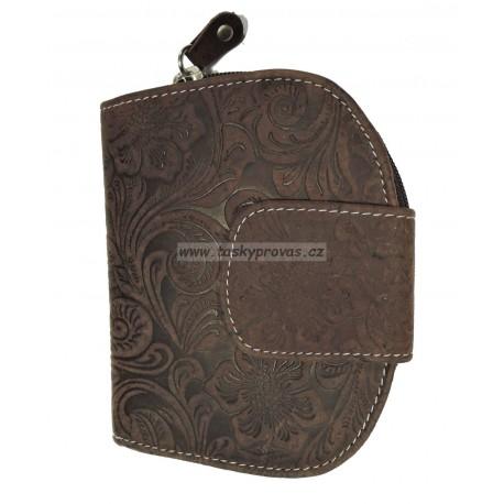 Dámská kožená peněženka DD D191-33 hnědá (ražba)