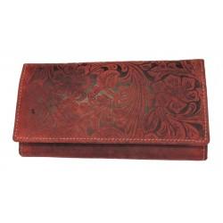 Dámská kožená peněženka DD D 594-38 tm.červená (ražba)