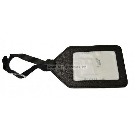 Kožená visačka na zavazadlo DD X 001-01 černá
