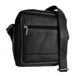 Kožená taška přes rameno Delami 749-01 černá