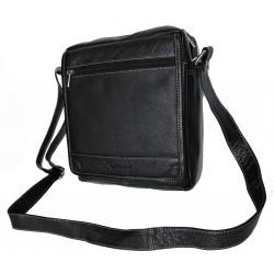 Kožená taška přes rameno Delami 751-01 černá