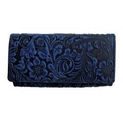 Dámská luxusní kožená peněženka Talacko 12026 modrá ražba