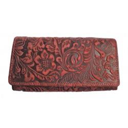 Dámská luxusní kožená peněženka Talacko 12026 tm.červená ražba