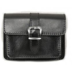 Kožená kapsa na pásek Greisi M8-CCS černá černě prošitá
