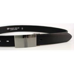Pánský luxusní kožený společenský opasek s plnou sponou Belts 35-020-6PS černá