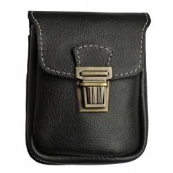 Kožená kapsa na pásek Greisi M9-CS2 černá sv.prošitá
