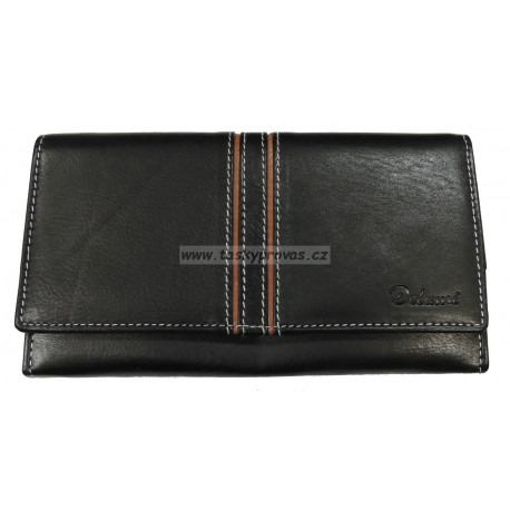 Dámská kožená peněženka Delami 10422 černá/hnědá