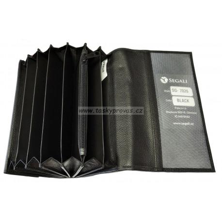 Kožená kasírka Segali SG-7026 black