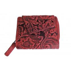 Dámská kožená peněženka DD W 1889-08 tm.červená (ražba)