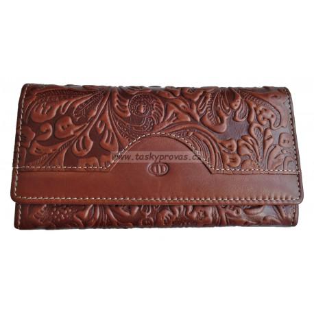 Dámská kožená peněženka DD W 1854-32 hnědá (ražba)