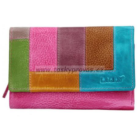 Dámská kožená luxusní peněženka Lagen LG-11/D fuchsia/multi