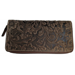 Dámská kožená peněženka Talacko 1263 tm.hnědá ražba