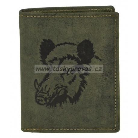 Greenburry pánská kožená peněženka 1701-30 zelená s ražbou divočáka