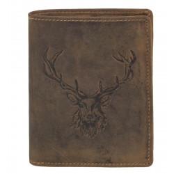 Greenburry pánská kožená peněženka 1701-25 hnědá ražbou hlavy jelena