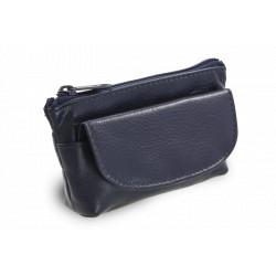 Arwel kožená klíčenka se zipovou a klopnovou kapsičkou 619-0369 modrá