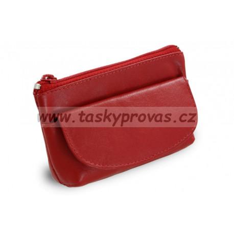 Arwel kožená klíčenka se zipovou a klopnovou kapsičkou 619-0369 červená