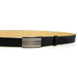 Pánský luxusní kožený společenský opasek s plnou sponou Belts 35-020-A13 černý