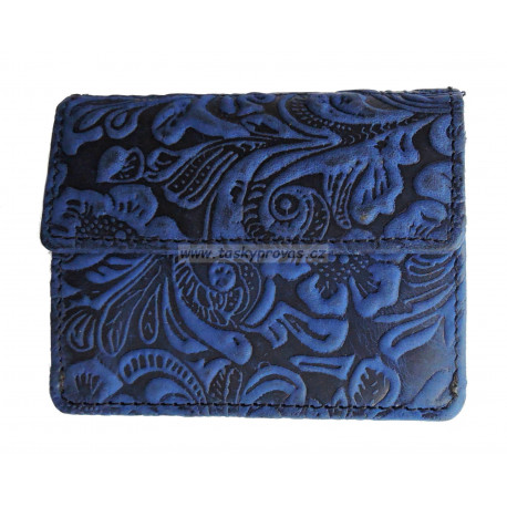 Dámská kožená peněženka DD W 1112-36 modrá tlačená