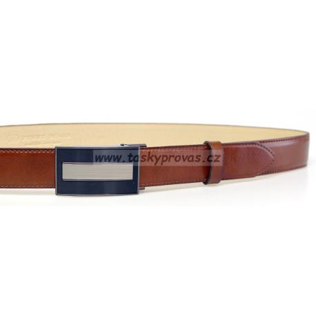 Pánský luxusní kožený společenský opasek s plnou sponou Belts 35-020-A12 hnědý