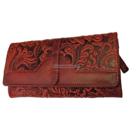 Dámská kožená peněženka Talacko 1854-18 tm.červená ražba