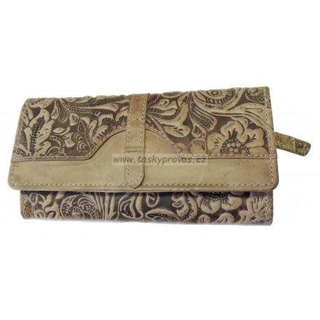 Dámská kožená peněženka Talacko 1854-18 sv.hnědá ražba