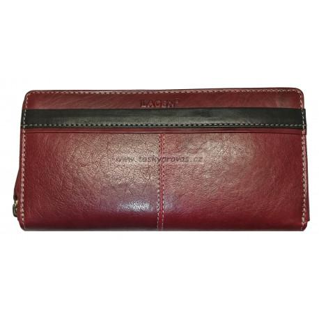 Dámská kožená luxusní peněženka Lagen 26512/T red/black