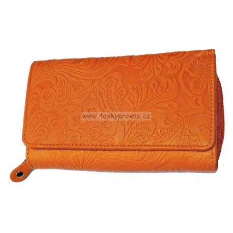 Dámská kožená peněženka DD D 41-54 oranžová (ražba)