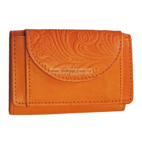 Malá kožená peněženka DD D 919-54 oranžová (ražba)