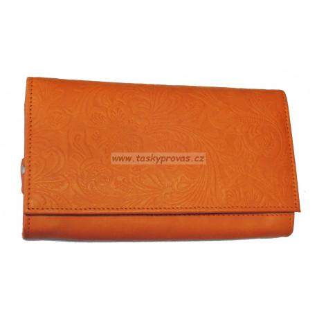 Dámská kožená peněženka DD D175-54 oranžová (ražba)