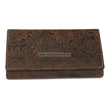 Dámská kožená peněženka DD D 594-33 hnědá (ražba)