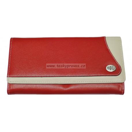Dámská kožená peněženka DD D717-70 červená/béžová