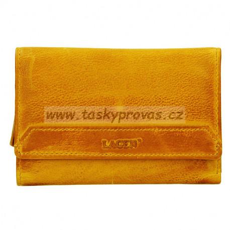 Dámská kožená luxusní peněženka Lagen LG-11/D yellow dark