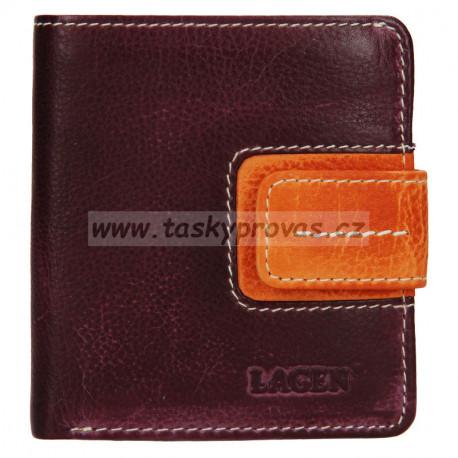 Lagen malá kožená peněženka 3305/18 plum/orange