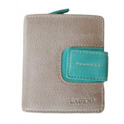 Dámská kožená luxusní peněženka Lagen 3306/18 taupe/sky ink