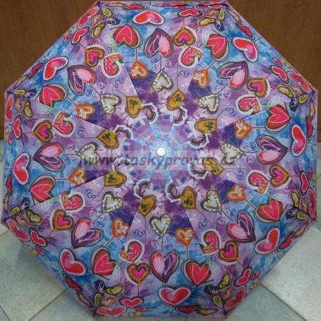 Deštník skládací Perletti 25990 srdíčka