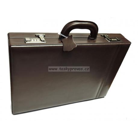 Dup kožený hnědý diplomatický ataše kufr 230701-026