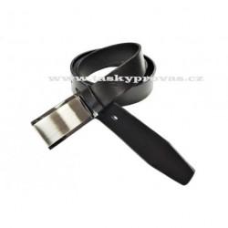 Pánský luxusní kožený společenský opasek s plnou sponou Penny Belts 35-100-4PS černá