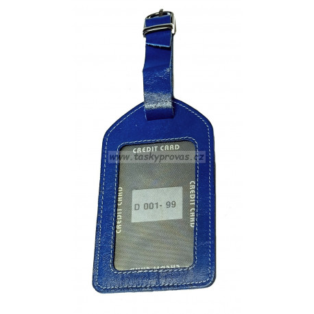 Kožená visačka na zavazadlo DD D 001-99-2 modrá