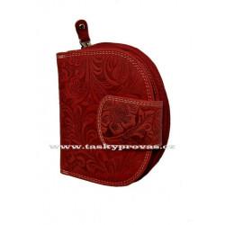 Dámská kožená peněženka DD D191-38 tm.červená (ražba)