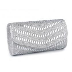 Kabelka - psaníčko s broušenými kamínky 770969 stříbrná