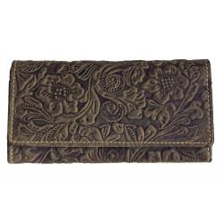 Dámská kožená peněženka Tal. 1264 dark brown ražba