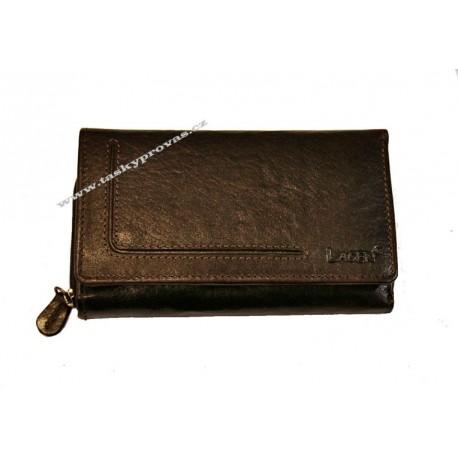 Dámská kožená luxusní peněženka Lagen HT-32/T tm.hnědá