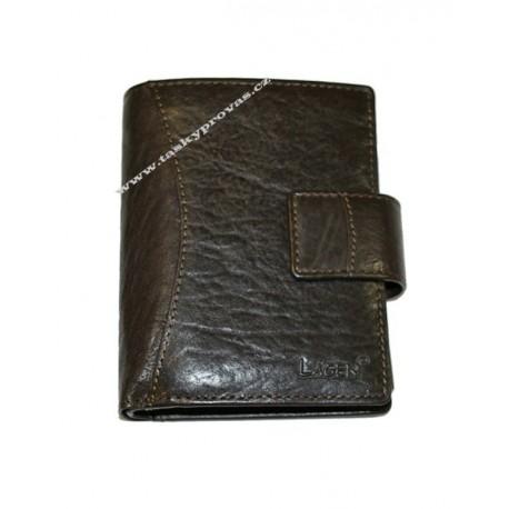 Kožená luxusní peněženka Lagen 3808/T tm.hnědá