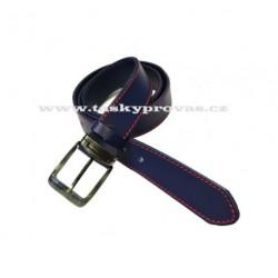 Opasek kožený Penny Belts 507-1-PRČV modrý červeně prošitý